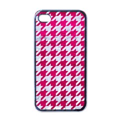 Houndstooth1 White Marble & Pink Leather Apple Iphone 4 Case (black) by trendistuff
