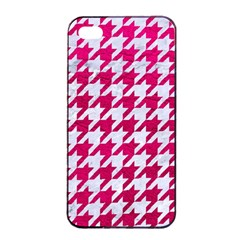 Houndstooth1 White Marble & Pink Leather Apple Iphone 4/4s Seamless Case (black) by trendistuff