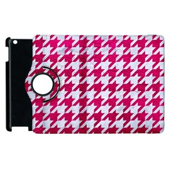 Houndstooth1 White Marble & Pink Leather Apple Ipad 2 Flip 360 Case by trendistuff