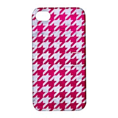 Houndstooth1 White Marble & Pink Leather Apple Iphone 4/4s Hardshell Case With Stand by trendistuff