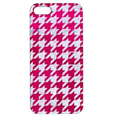 Houndstooth1 White Marble & Pink Leather Apple Iphone 5 Hardshell Case With Stand by trendistuff
