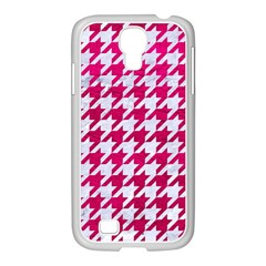 Houndstooth1 White Marble & Pink Leather Samsung Galaxy S4 I9500/ I9505 Case (white) by trendistuff