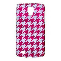 Houndstooth1 White Marble & Pink Leather Galaxy S4 Active by trendistuff