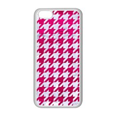 Houndstooth1 White Marble & Pink Leather Apple Iphone 5c Seamless Case (white) by trendistuff