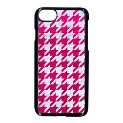 Houndstooth1 White Marble & Pink Leather Apple Iphone 8 Seamless Case (black) by trendistuff