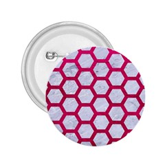 Hexagon2 White Marble & Pink Leather (r) 2 25  Buttons by trendistuff
