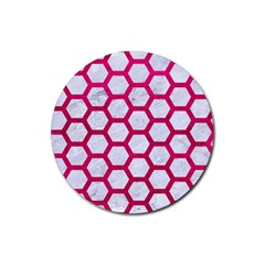 Hexagon2 White Marble & Pink Leather (r) Rubber Round Coaster (4 Pack)  by trendistuff