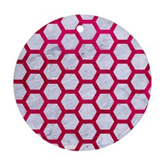 Hexagon2 White Marble & Pink Leather (r) Round Ornament (two Sides) by trendistuff