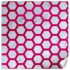 Hexagon2 White Marble & Pink Leather (r) Canvas 16  X 16   by trendistuff