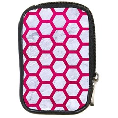 Hexagon2 White Marble & Pink Leather (r) Compact Camera Cases by trendistuff