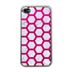 Hexagon2 White Marble & Pink Leather (r) Apple Iphone 4 Case (clear) by trendistuff