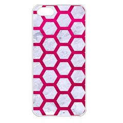Hexagon2 White Marble & Pink Leather (r) Apple Iphone 5 Seamless Case (white) by trendistuff