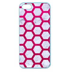 Hexagon2 White Marble & Pink Leather (r) Apple Seamless Iphone 5 Case (color) by trendistuff