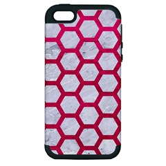 Hexagon2 White Marble & Pink Leather (r) Apple Iphone 5 Hardshell Case (pc+silicone) by trendistuff