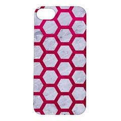 Hexagon2 White Marble & Pink Leather (r) Apple Iphone 5s/ Se Hardshell Case by trendistuff