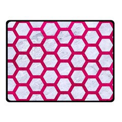 Hexagon2 White Marble & Pink Leather (r) Double Sided Fleece Blanket (small)  by trendistuff