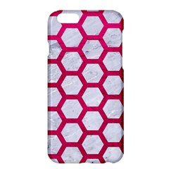 Hexagon2 White Marble & Pink Leather (r) Apple Iphone 6 Plus/6s Plus Hardshell Case by trendistuff