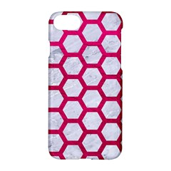 Hexagon2 White Marble & Pink Leather (r) Apple Iphone 8 Hardshell Case by trendistuff
