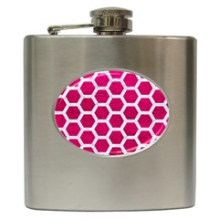 Hexagon2 White Marble & Pink Leather Hip Flask (6 Oz) by trendistuff