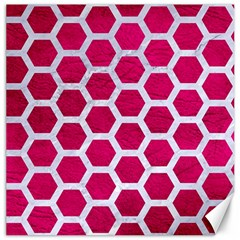 Hexagon2 White Marble & Pink Leather Canvas 12  X 12   by trendistuff