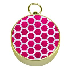 Hexagon2 White Marble & Pink Leather Gold Compasses by trendistuff