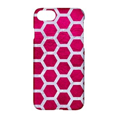 Hexagon2 White Marble & Pink Leather Apple Iphone 7 Hardshell Case by trendistuff