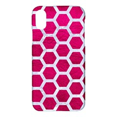 Hexagon2 White Marble & Pink Leather Apple Iphone X Hardshell Case