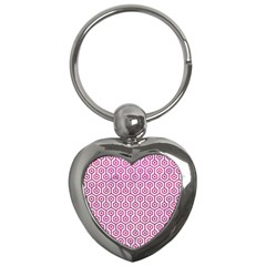 Hexagon1 White Marble & Pink Leather (r) Key Chains (heart)  by trendistuff