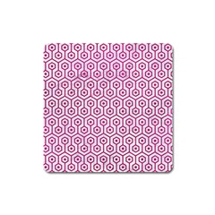 Hexagon1 White Marble & Pink Leather (r) Square Magnet by trendistuff