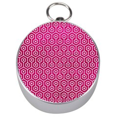 Hexagon1 White Marble & Pink Leather Silver Compasses
