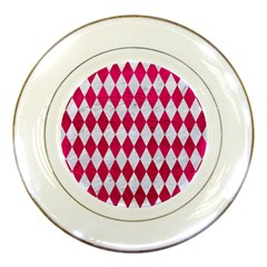 Diamond1 White Marble & Pink Leather Porcelain Plates by trendistuff