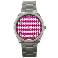Diamond1 White Marble & Pink Leather Sport Metal Watch