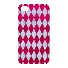 Diamond1 White Marble & Pink Leather Apple Iphone 4/4s Premium Hardshell Case by trendistuff