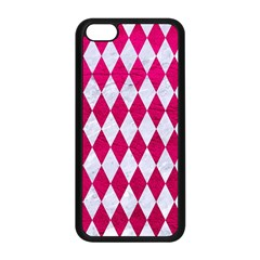 Diamond1 White Marble & Pink Leather Apple Iphone 5c Seamless Case (black) by trendistuff