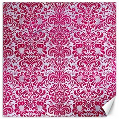 Damask2 White Marble & Pink Leather (r) Canvas 16  X 16   by trendistuff