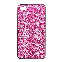 Damask2 White Marble & Pink Leather (r) Apple Iphone 4/4s Seamless Case (black) by trendistuff