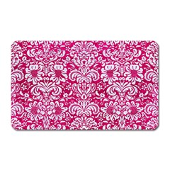 Damask2 White Marble & Pink Leather Magnet (rectangular) by trendistuff