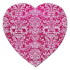 Damask2 White Marble & Pink Leather Jigsaw Puzzle (heart)
