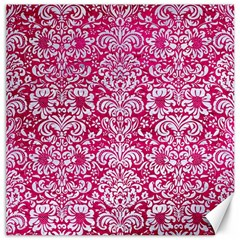 Damask2 White Marble & Pink Leather Canvas 12  X 12   by trendistuff