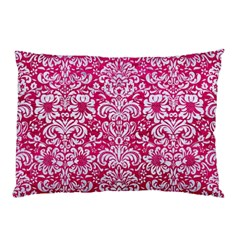 Damask2 White Marble & Pink Leather Pillow Case by trendistuff