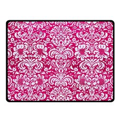 Damask2 White Marble & Pink Leather Fleece Blanket (small) by trendistuff