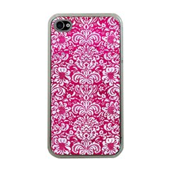 Damask2 White Marble & Pink Leather Apple Iphone 4 Case (clear) by trendistuff