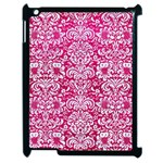 DAMASK2 WHITE MARBLE & PINK LEATHER Apple iPad 2 Case (Black) Front