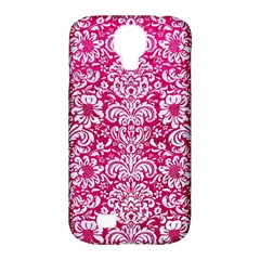 Damask2 White Marble & Pink Leather Samsung Galaxy S4 Classic Hardshell Case (pc+silicone) by trendistuff