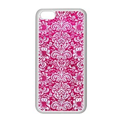 Damask2 White Marble & Pink Leather Apple Iphone 5c Seamless Case (white) by trendistuff