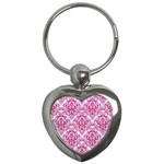 DAMASK1 WHITE MARBLE & PINK LEATHER (R) Key Chains (Heart)  Front