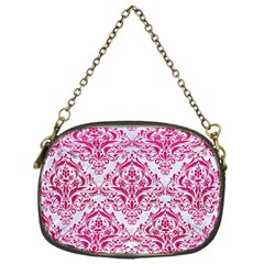 Damask1 White Marble & Pink Leather (r) Chain Purses (one Side)  by trendistuff