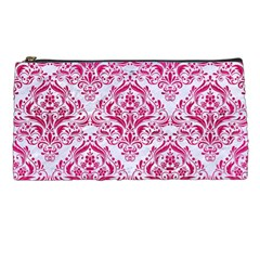 Damask1 White Marble & Pink Leather (r) Pencil Cases by trendistuff