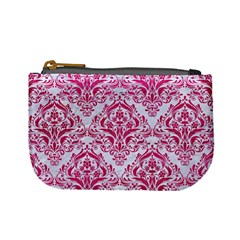 Damask1 White Marble & Pink Leather (r) Mini Coin Purses by trendistuff