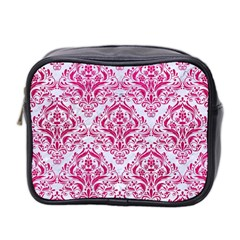 Damask1 White Marble & Pink Leather (r) Mini Toiletries Bag 2 Side by trendistuff